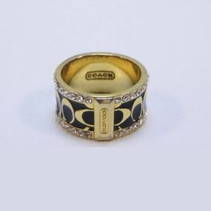 Coach Enamel Signature Ring w/ Crystals